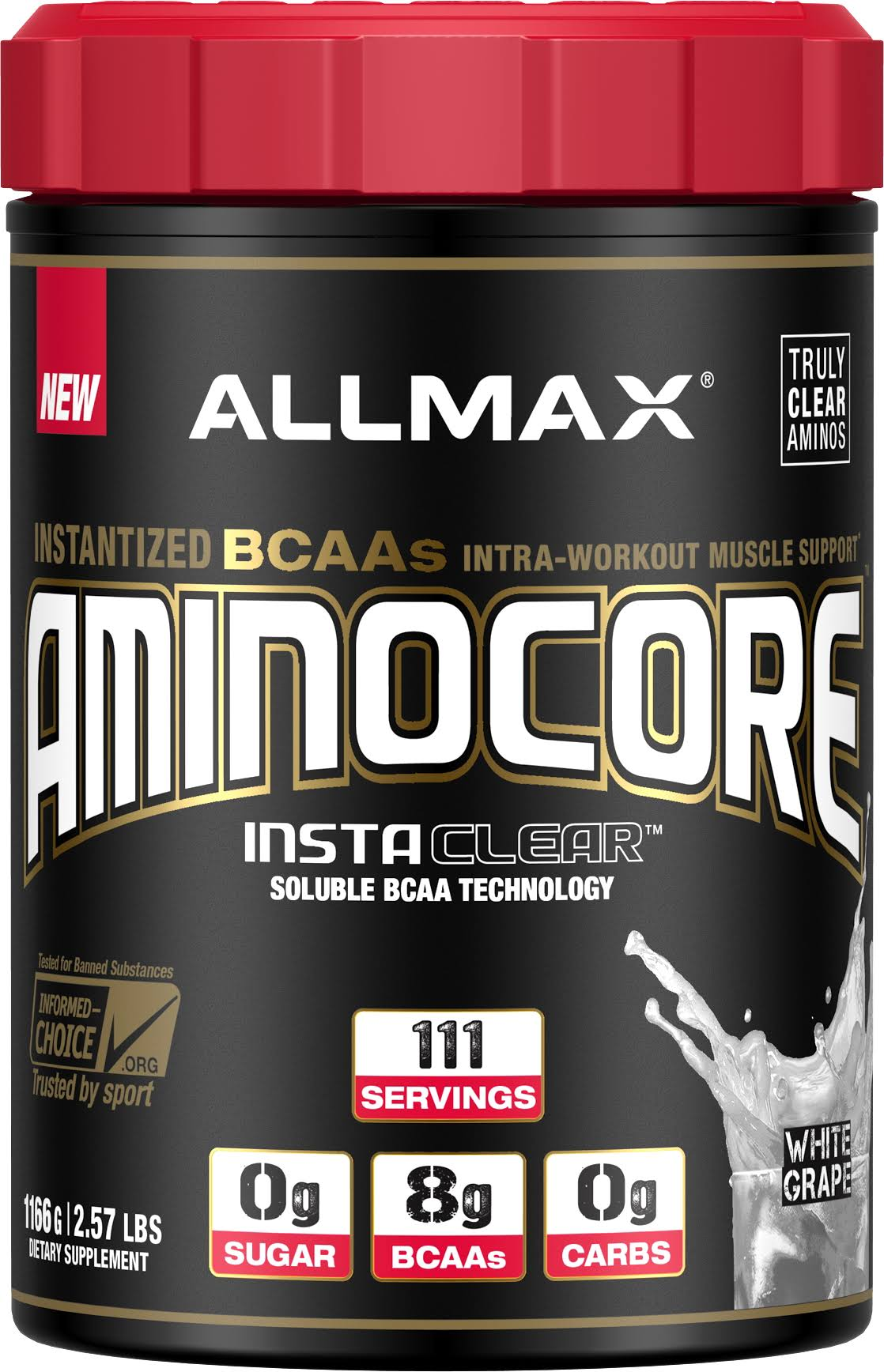 Allmax Nutrition Aminocore Bcaa - White Grape, 1166g
