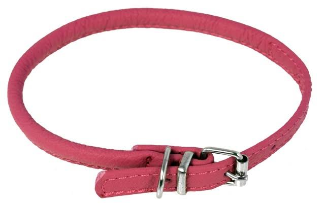 "Dogline Soft and Padded Rolled Round Leather Collar for Dogs - 1/4"" x 10""-13"", Pink"