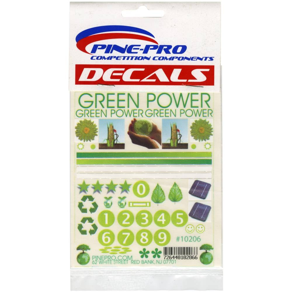 "Pinepro Pine Car Derby Decal - Green Power, 4.5"" x 5"""