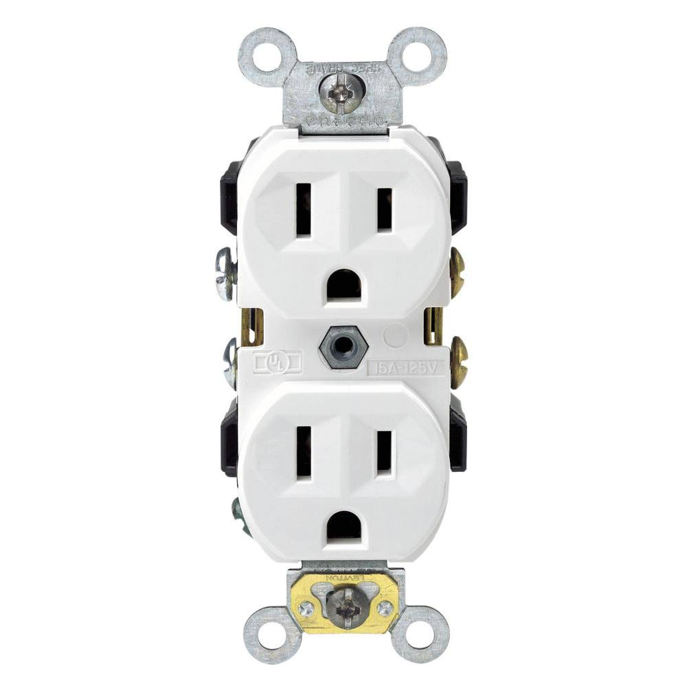 Leviton Decora Duplex Outlet Electrical Indoor Receptacle - White, 15amp