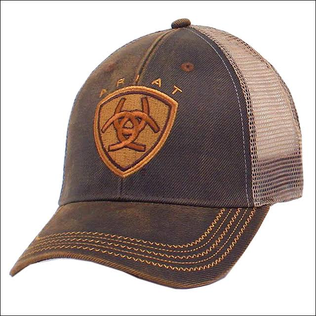 Ariat Men's Oil Skin Mesh Snap Back Hat - Brown, One Size