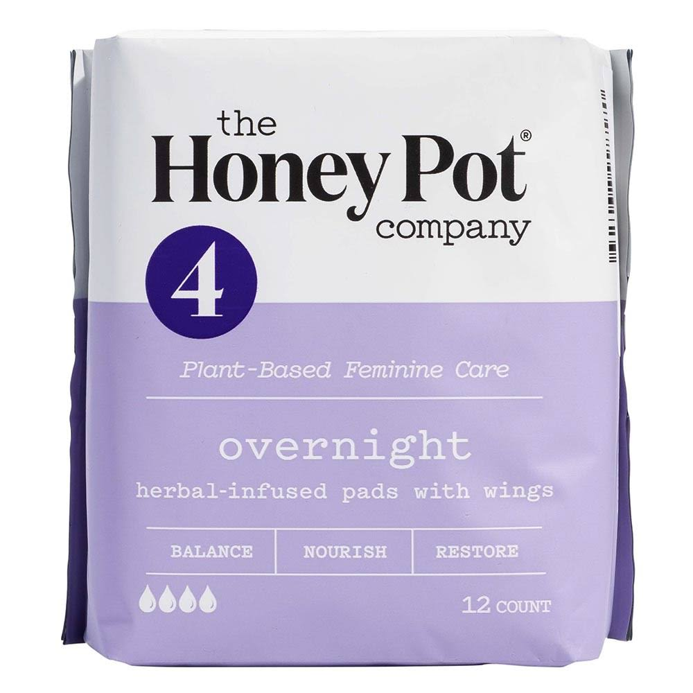 The Honey Pot Overnight Feminine Pads - with Wings, 12ct