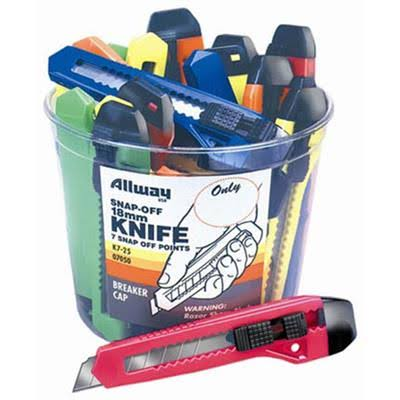 Allway Tools Snap-Off Neon Knife Bucket - 25pcs, 18mm