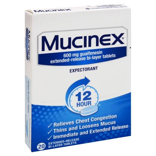 Mucinex Expectorant, 600 mg, 12 Hour, Extended-Release Bi-Layer Tablets - 20 tablets