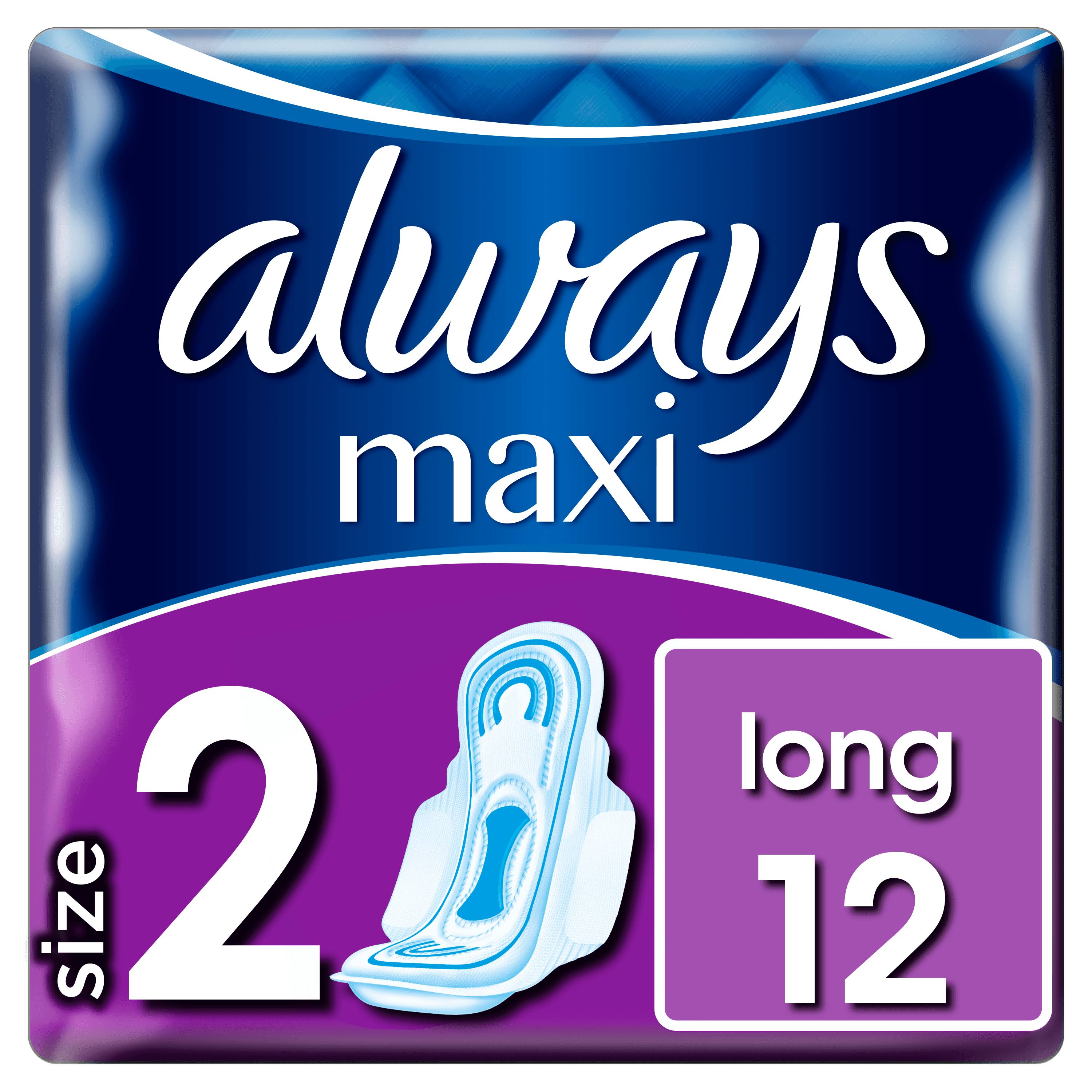 Always Maxi Long Sanitary Towels - with Wings, 12 Pads