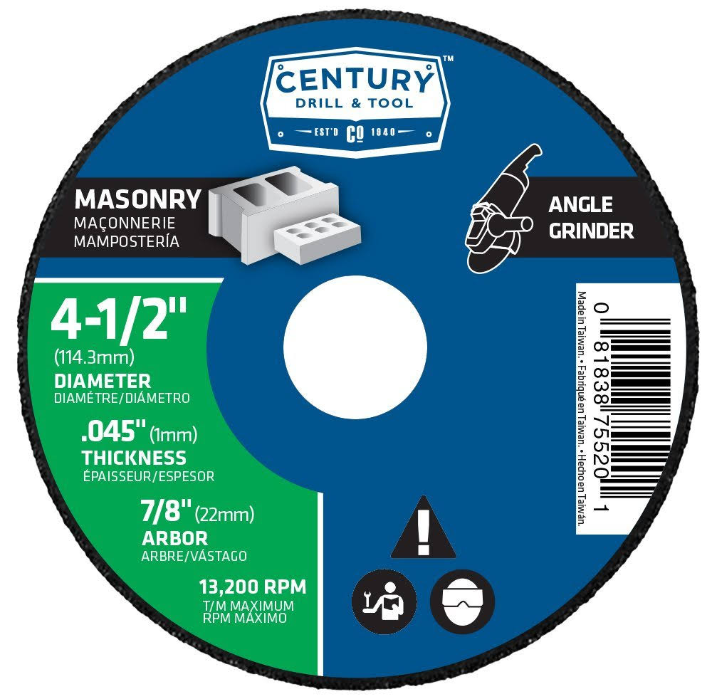 "Century Drill and Tool Masonry Cutting Wheel - 4 1/2"" x 1/16"" x 7/8"""