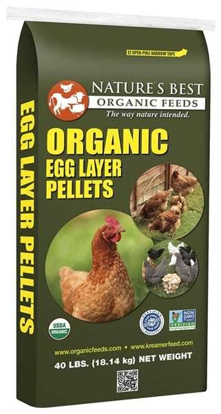 Natures Best Organic Chickens Feed Organic Egg Layer Pellets - 40lbs