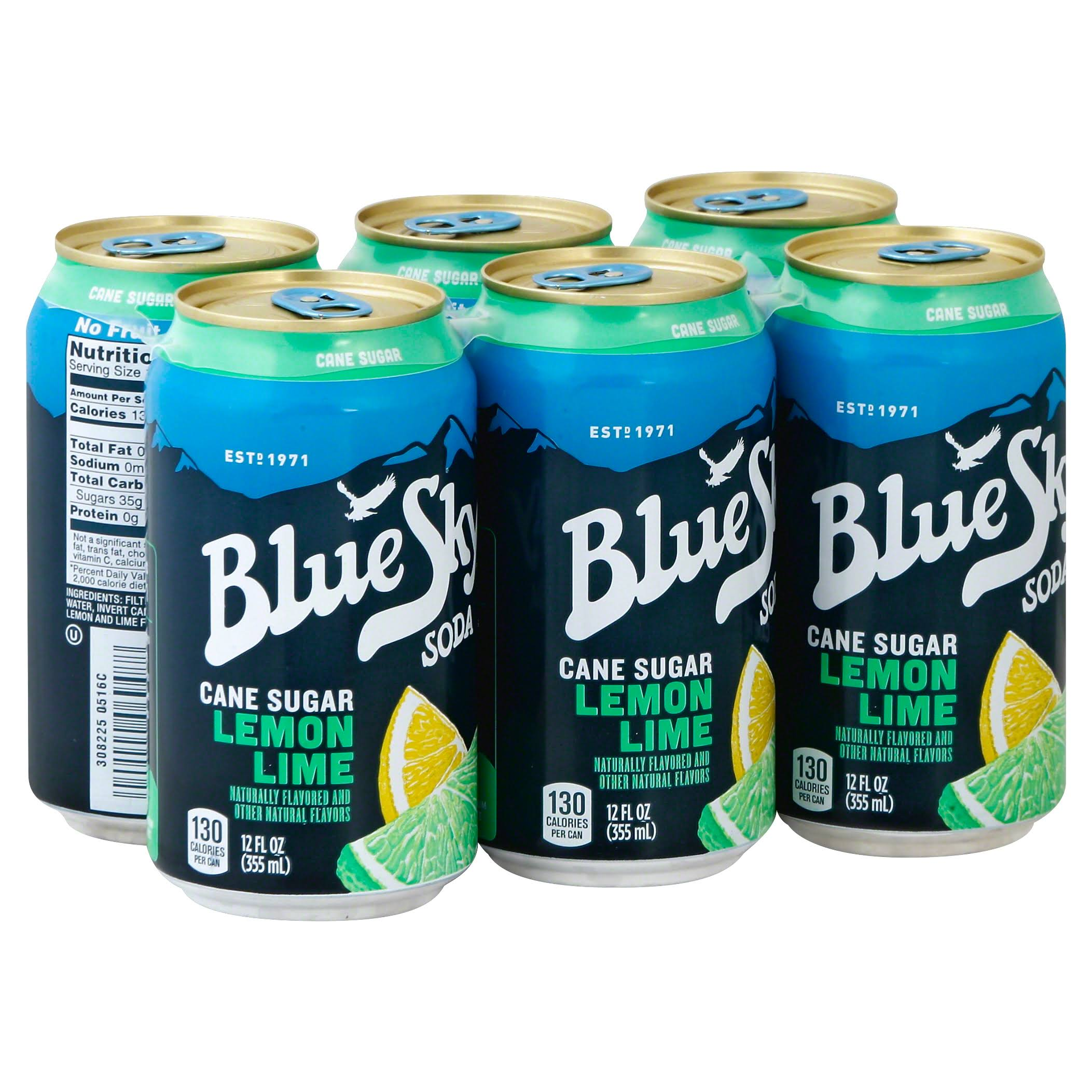 Blue Sky Soda, Lemon Lime - 6 pack, 12 fl oz cans