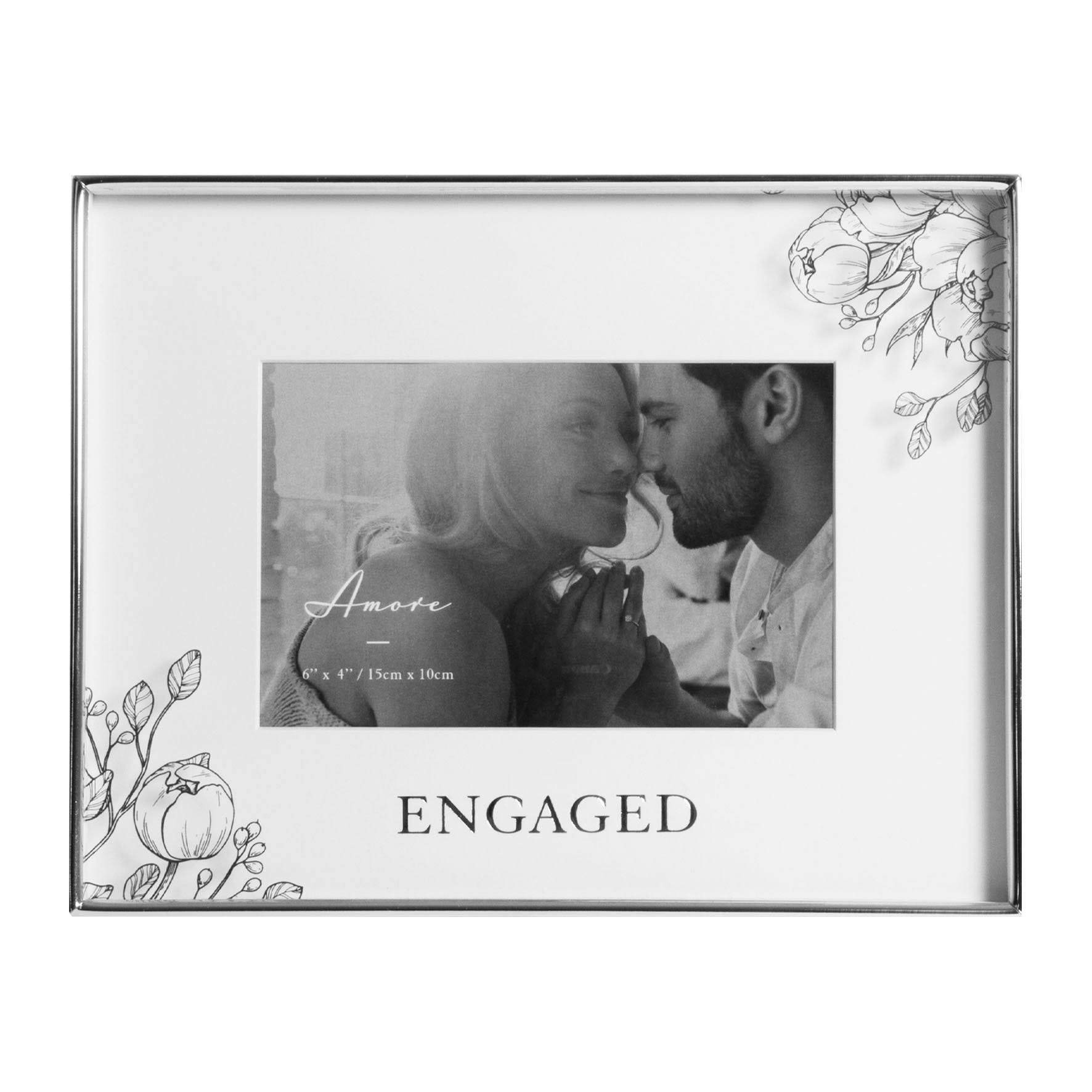 WIDDOP Wedding Photo Frame Silver Foil Floral - Engaged