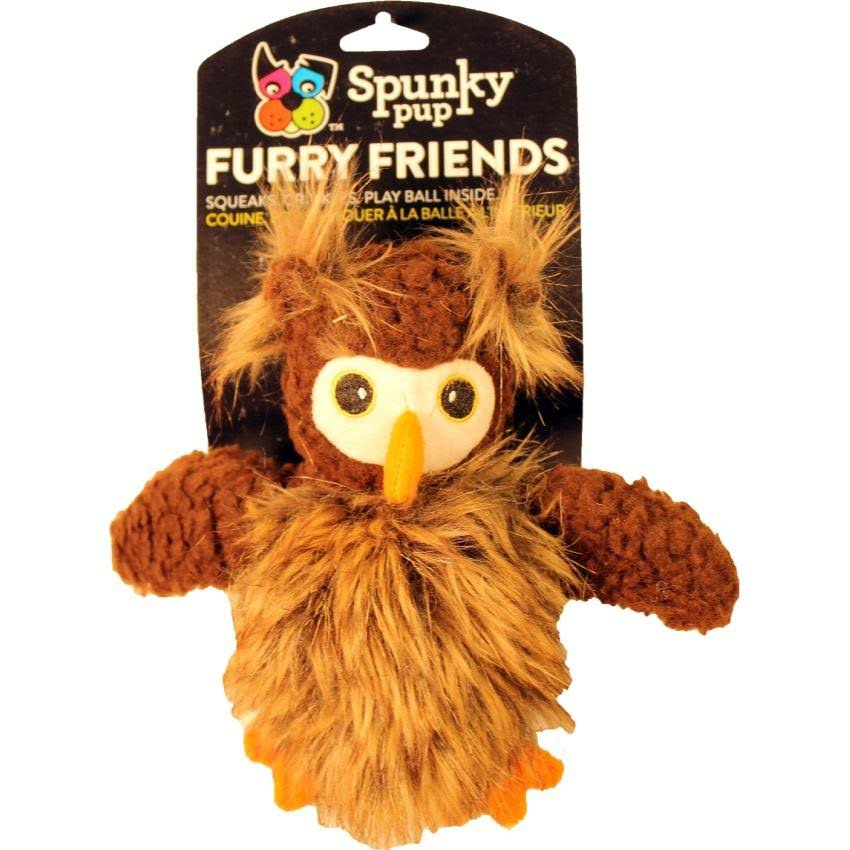 Spunky Pup Furry Friends Dog Toy - Owl, with Ball Squeaker