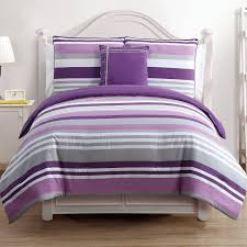 Lavender And Grey Bedding by Purple Grey And White Striped Bedding Bed On White Wooden Bed
