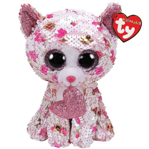 Ty Flippables Sequin Plush - Cupid The Cat - Regular Size 6 in