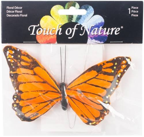 "Touch of Nature Feather Butterfly - 6"", Orange and Black Monarch"