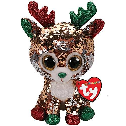 Christmas Ty Flippables Sequin Tegan Reindeer Beanie Baby Plush Toy - 6""