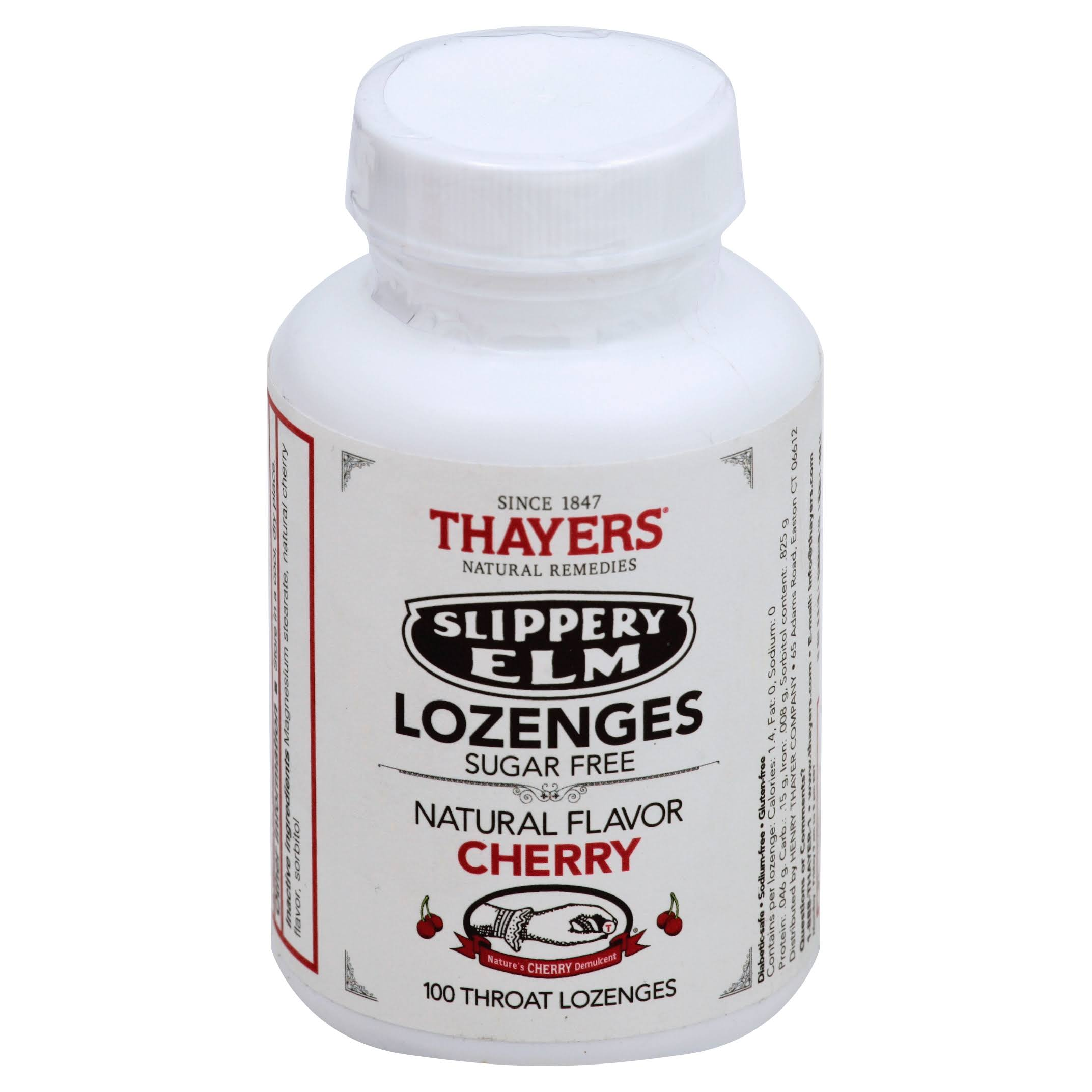 Thayers Slippery Elm Throat Lozenges - Natural Cherry Flavor, 100ct
