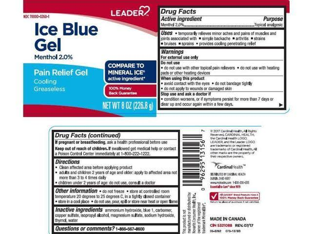 Leader Ice Blue Pain Relief Gel Menthol 2% 8oz 096295131567A412