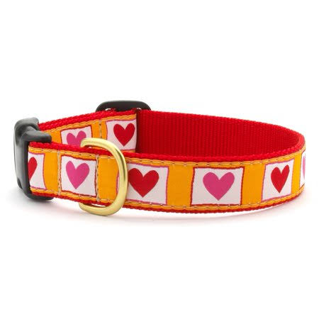 Hot Hearts Dog Collar - Small, Yellow