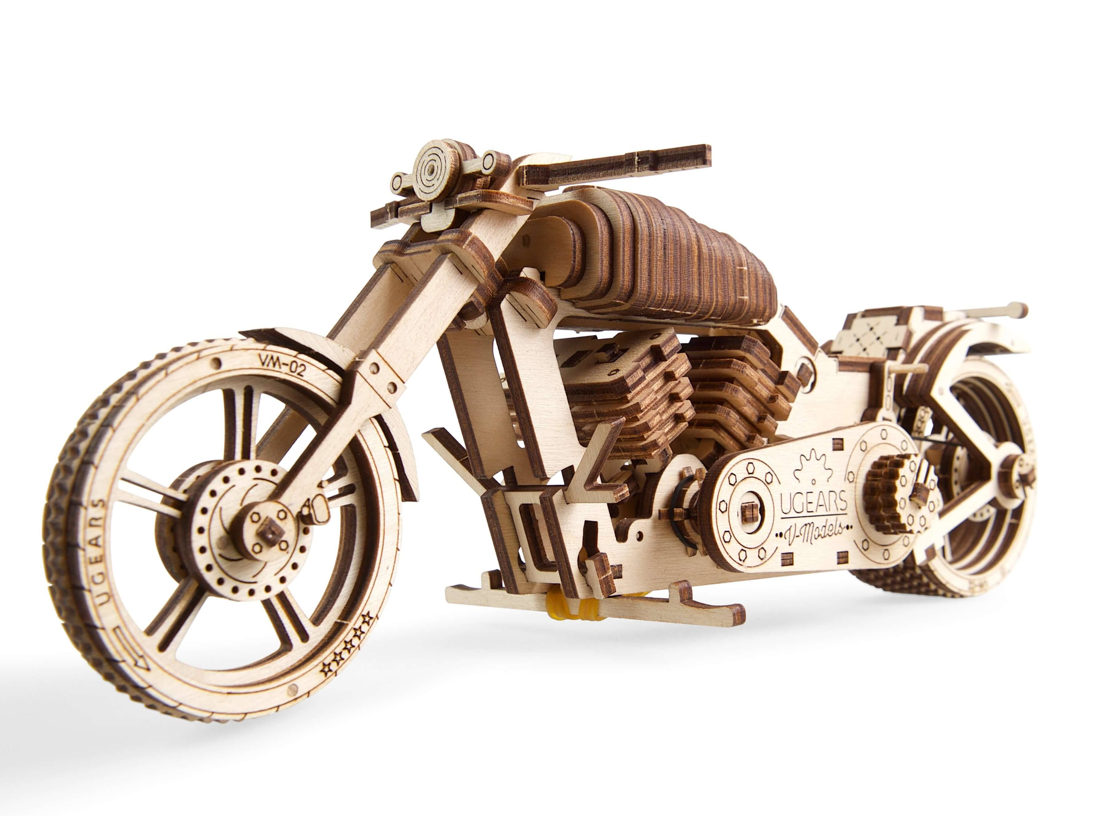 UGears Motorcycle VM-02 Mechanical 3D Wood Puzzle Model Kit