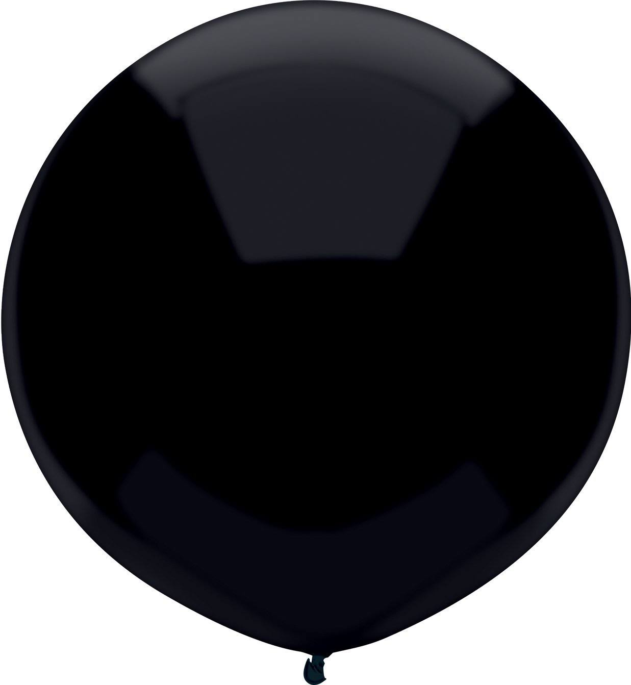 PartyMate 67194 Solid Color Round Latex Balloons 17-inch Pitch Black