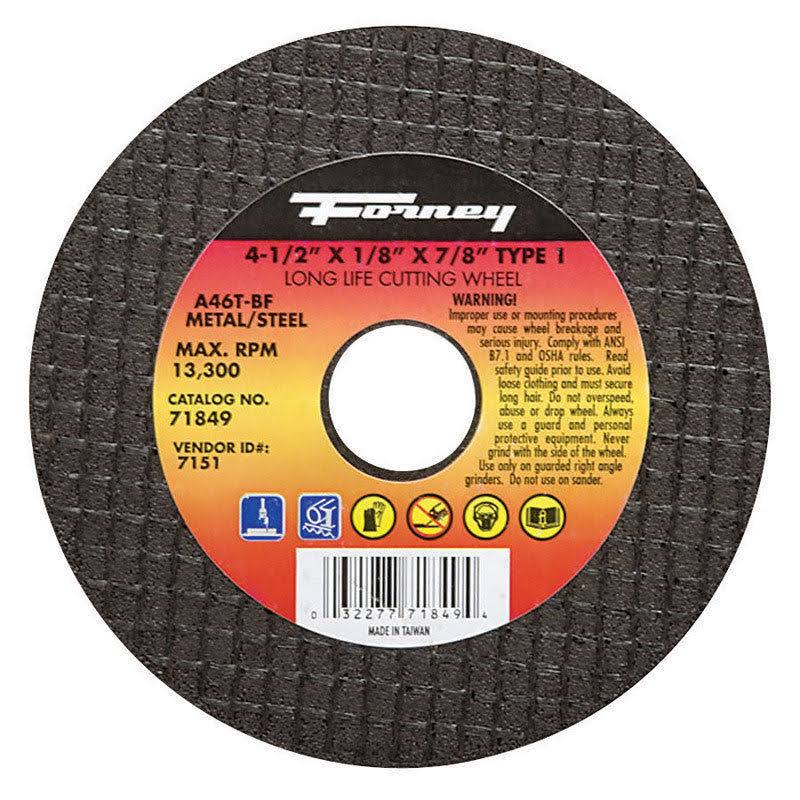 "Forney 71849 Cut-Off Wheel - 4 1/2"" x 1/8"" x 7/8"""