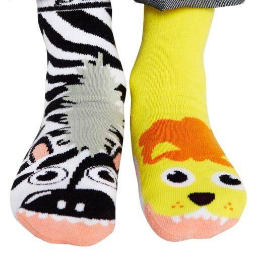Pals Socks Funky Kids Mismatched Animal Friends Grip Socks - Lion and Zebra
