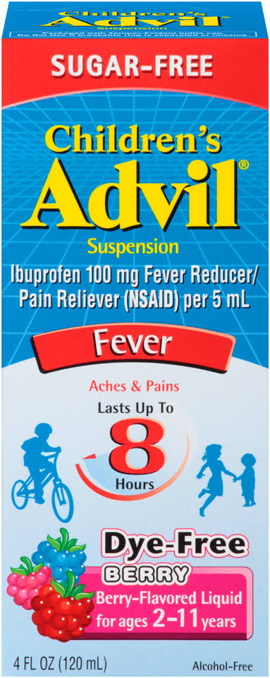 Advil Children's Sugar Free Dye Free Fever Pain Reliever - Berry, 4oz