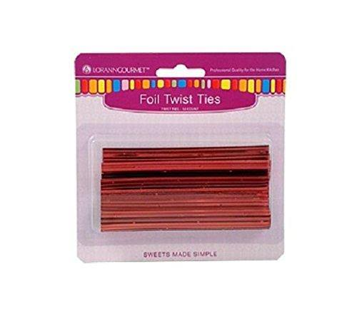 Lorann Twist Ties - Metallic Red / 50 Pack