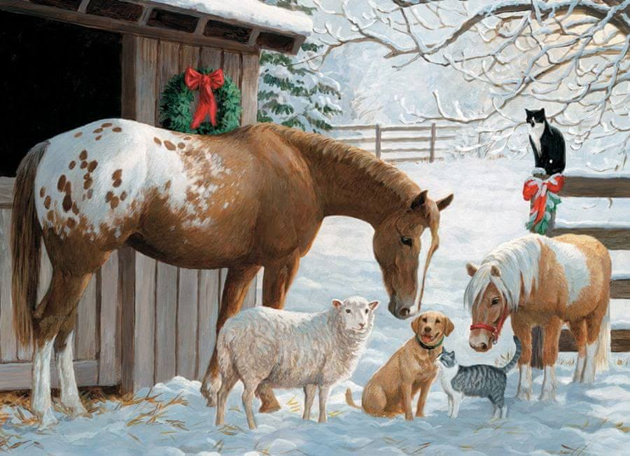 Cobble Hill Winter Barnyard Jigsaw Puzzle - 350pc