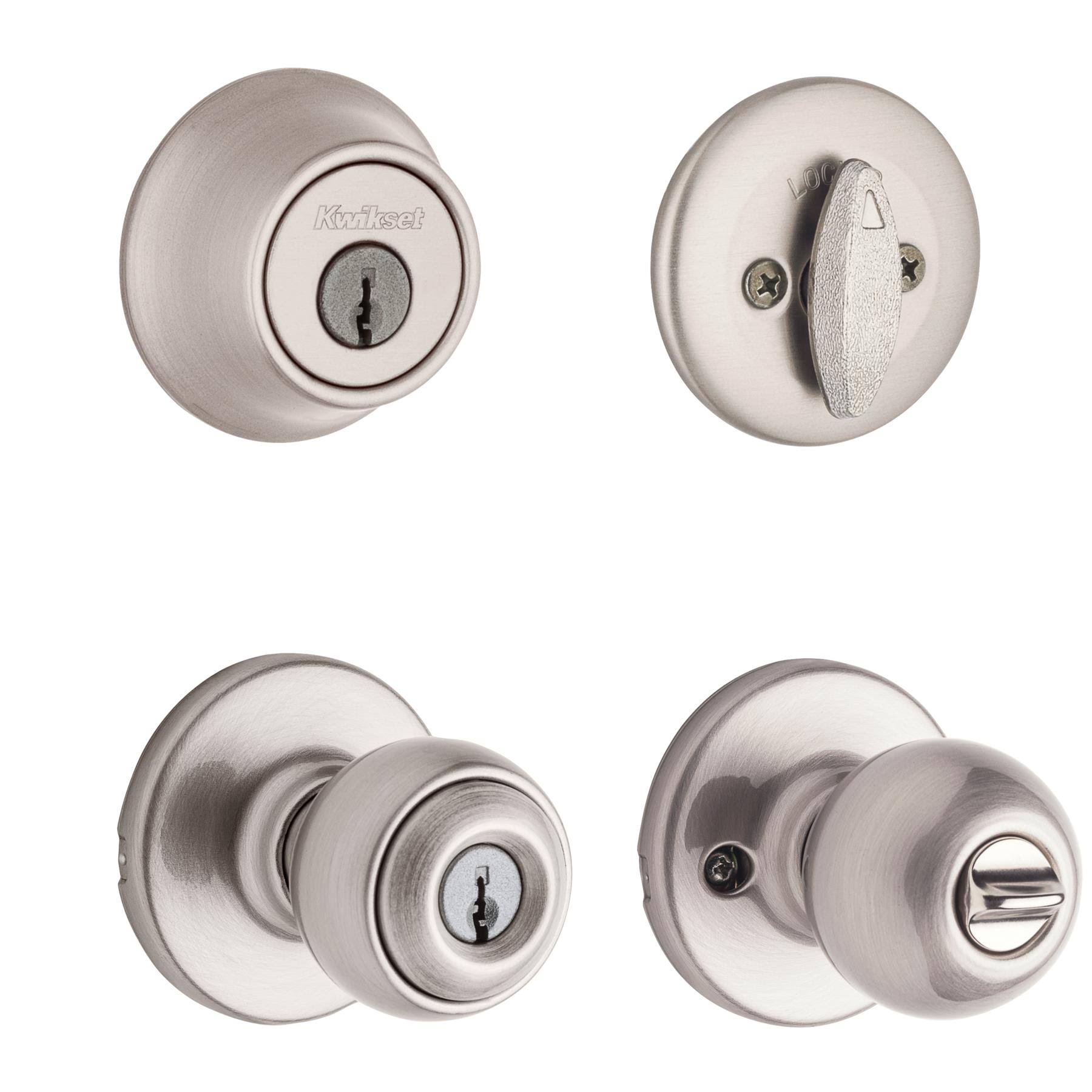 Kwikset Polo Entry Knob and Single Cylinder Deadbolt - Satin Nickel