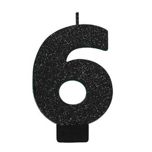 Amscan Glitter Numeral Candle - Black, #6