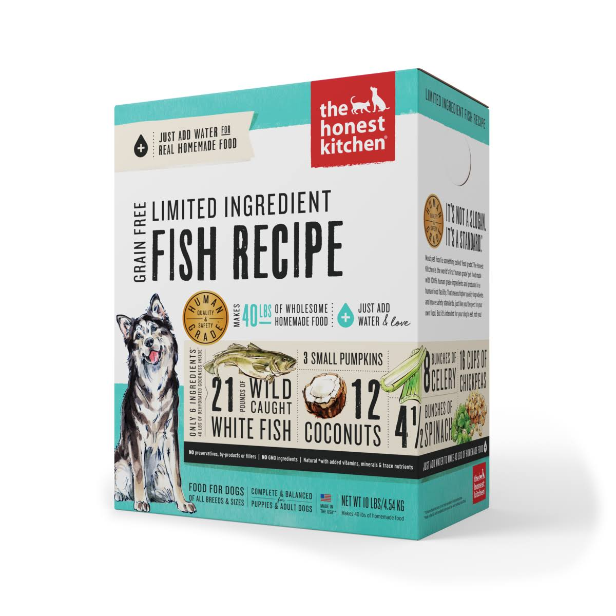 The Honest Kitchen Grain Free Limited Ingredient Fish Recipe Dehydrated Dog Food, 10lb