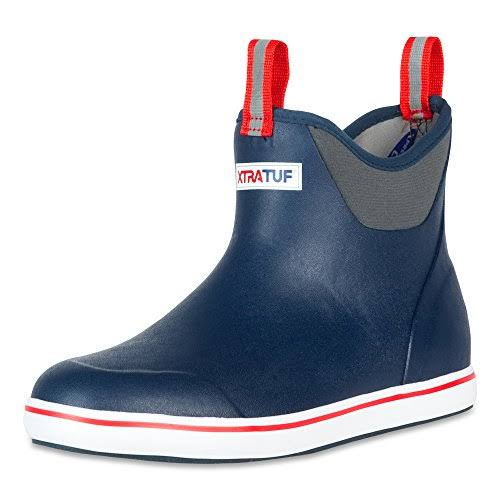"Xtratuf Men's Ankle Waterproof Deck Boots - 6"", Navy/Red, 8 US"