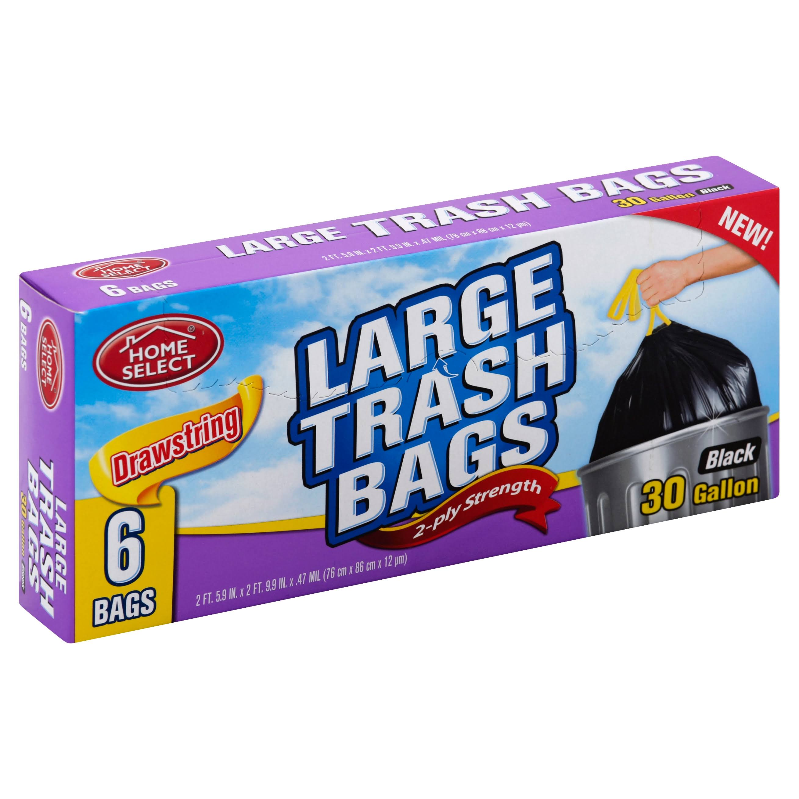 Home Select Drawstring Trash Bags - X-Large, 6 Bags