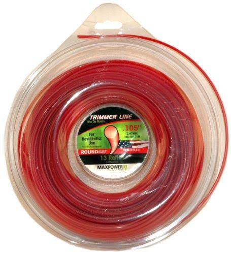 "Maxpower 333105 Round Cut Residential Grade Trimmer Line - Red, .105""x195'"