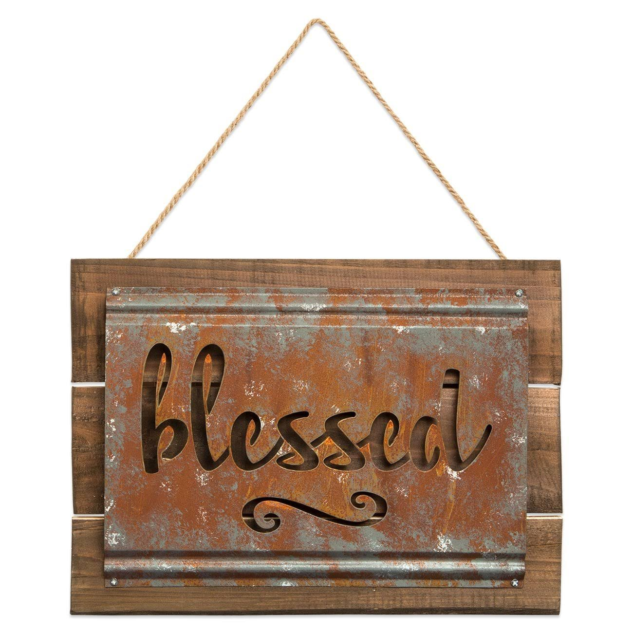 Brownlow Gifts Rustic Metal and Wood Sign, Blessed