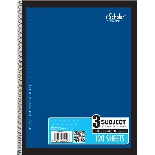 Ischolar 3-Subject Wirebound Notebook - 120 Sheets