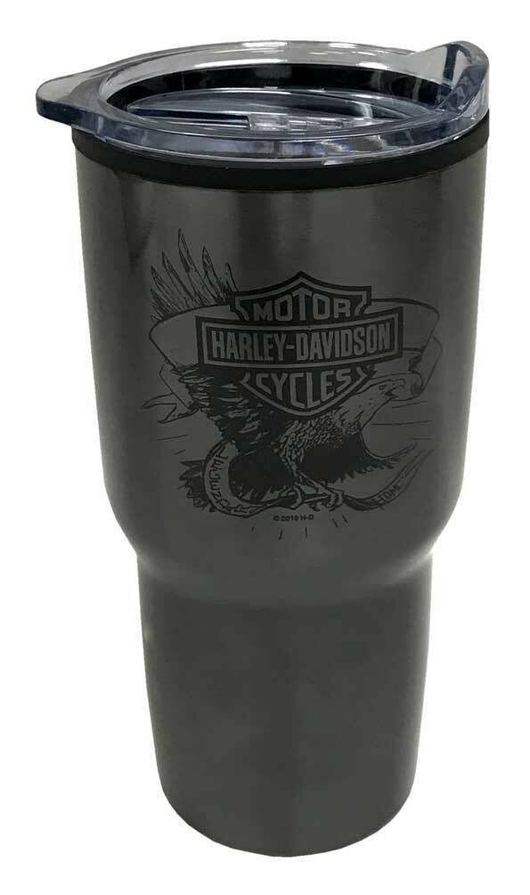 Harley-Davidson Legendary Eagle Stainless Steel Travel Cup, Dark Gray - 30oz.