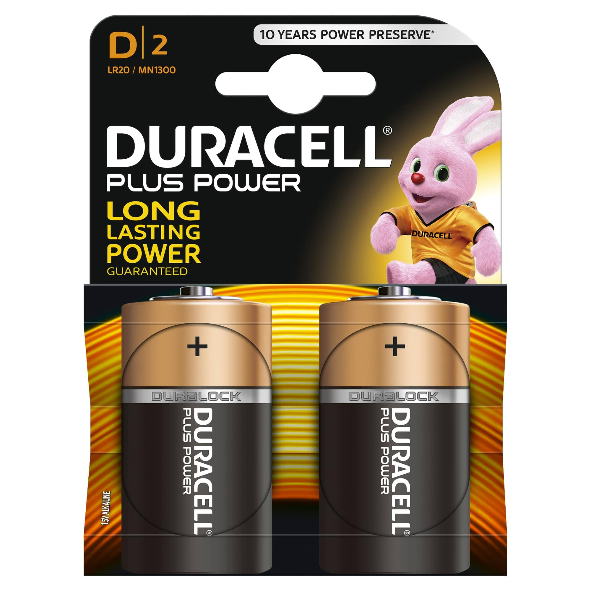 Duracell Plus Power Alkaline Batteries - Size D, 2 Pack