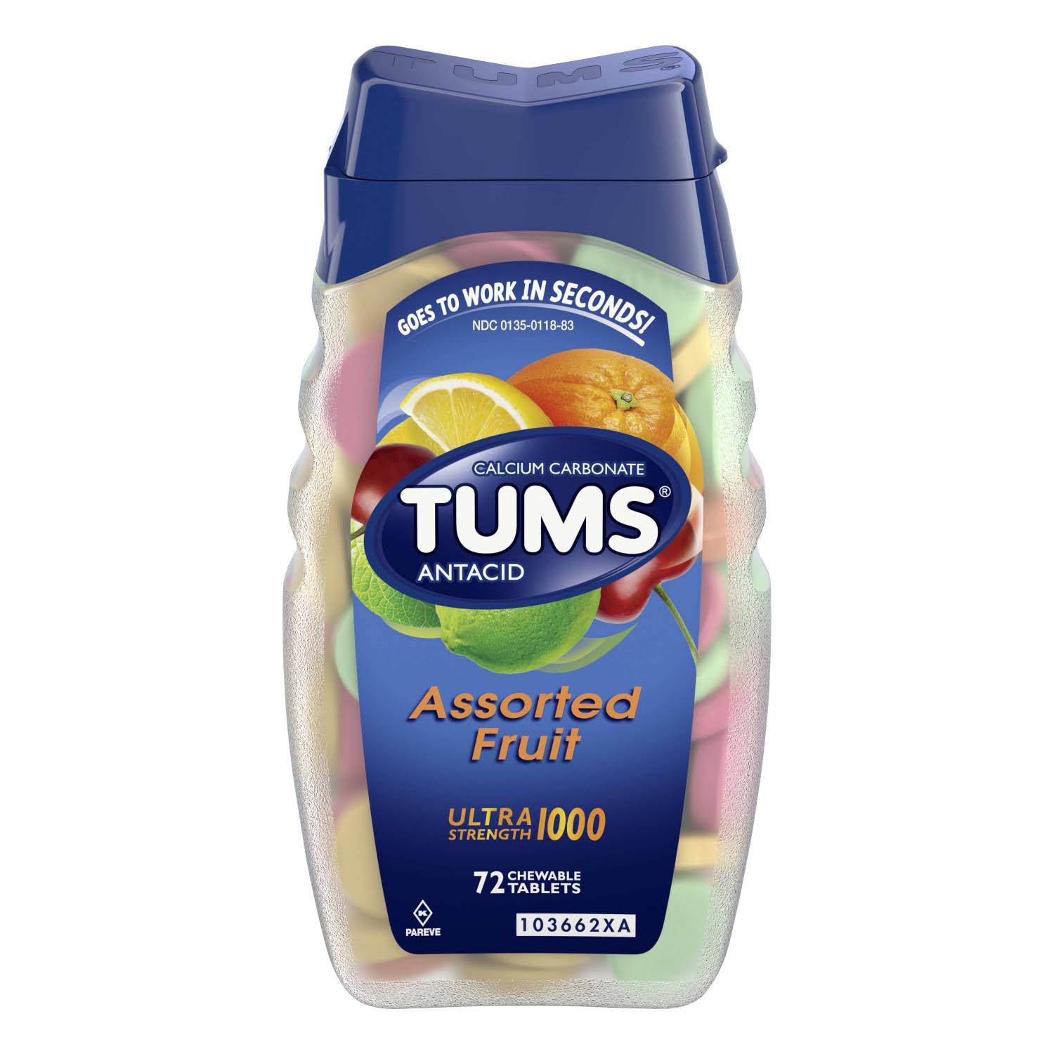 Tums Antacid Ultra Strength 1000 Antacid - Assorted Fruit, 72 Chewable Tablets