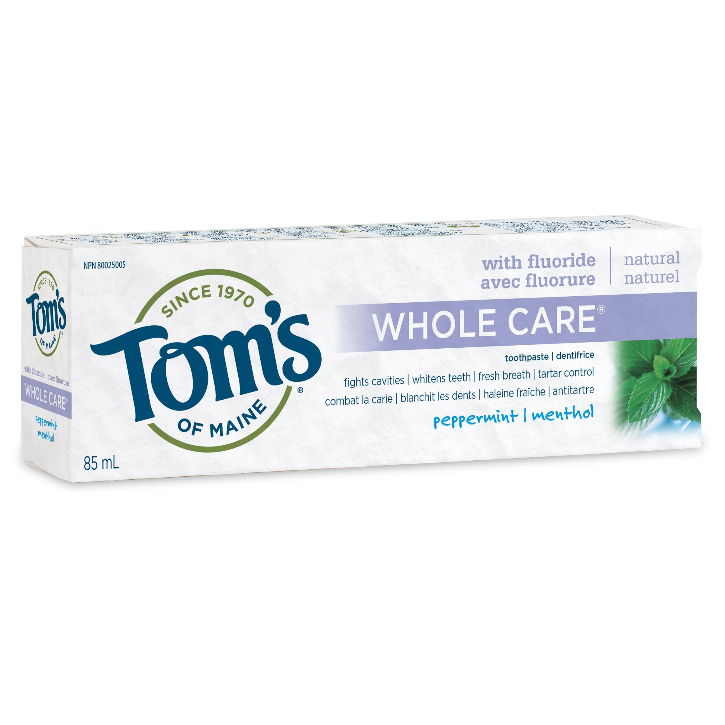 Tom's of Maine Whole Care Natural Toothpaste - Peppermint, 85 ml