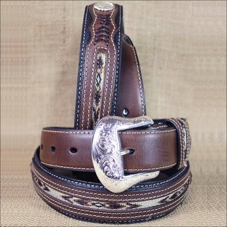 Nocona Western Mens Top Hand Southwest Laced Concho Belt - Black and Brown