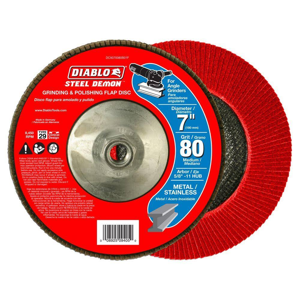 "Diablo Steel Demon Grinding and Polishing Max Flap Disc - 7"", 80 grit"