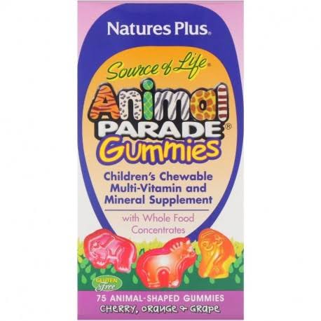 Natures Plus Animal Parade Gummy Bears Vitamins - Assorted Fruit, 75 Gummies