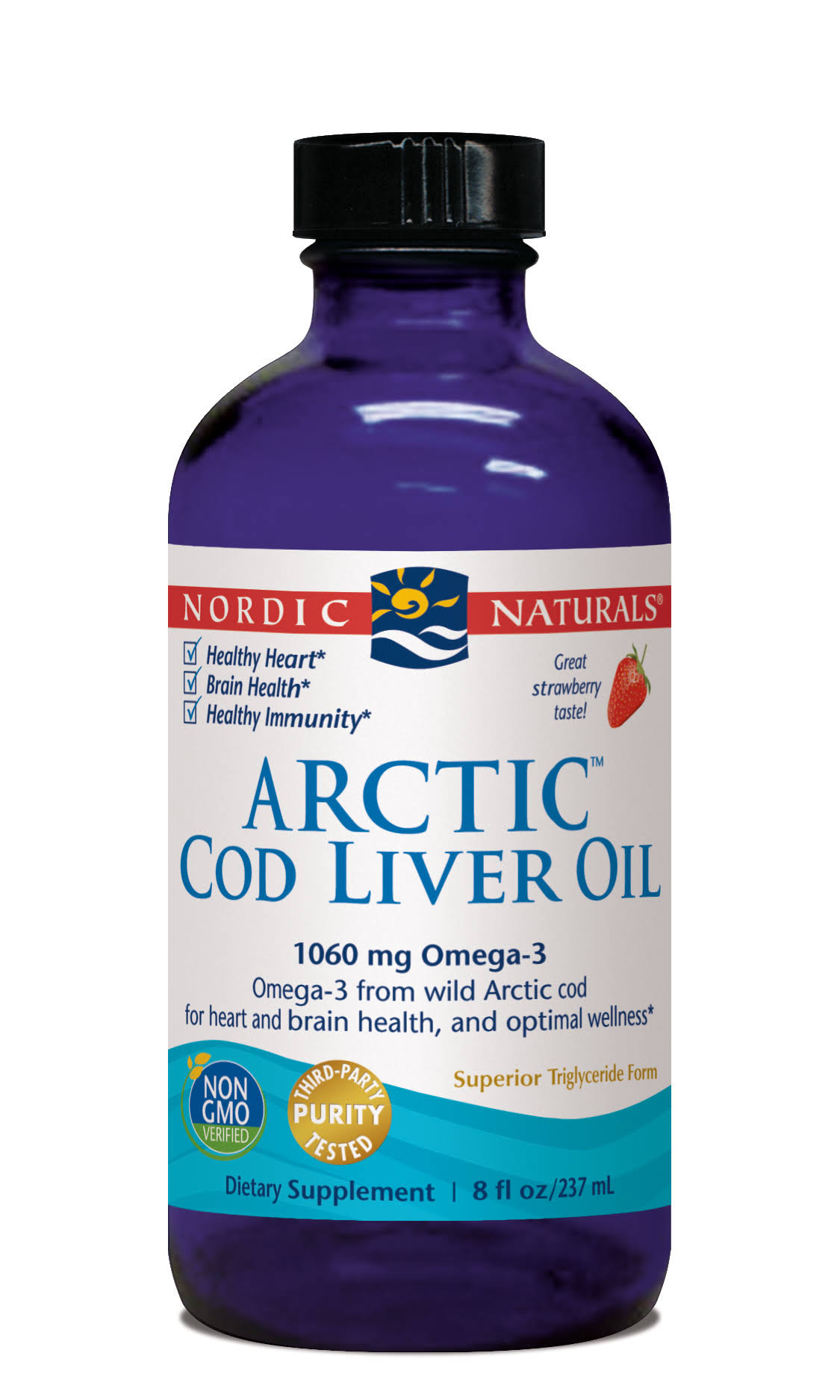Nordic Naturals Arctic Cod Liver Oil - Strawberry, 8oz