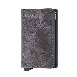 Secrid Leather Slim Wallet - Gray/Black