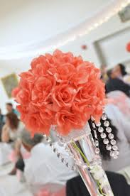 Coral Colored Decorative Items by Pink And Orange Wedding Centerpiece Credit Stems