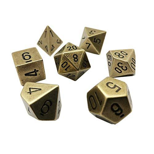 Chessex - Metal Old Brass 7 Die Polyhedral Set