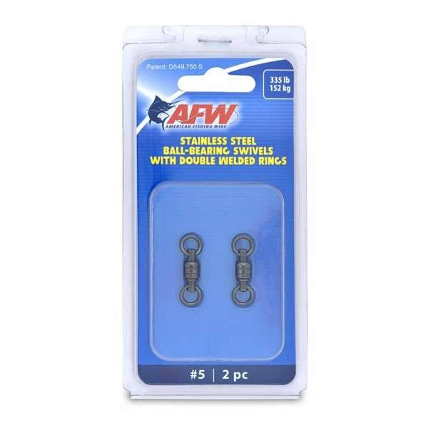 American Fishing Wire AFW Size #5 335Lb Stainless Steel Ball Bearing Swivels, 2PC - FWV05B-A