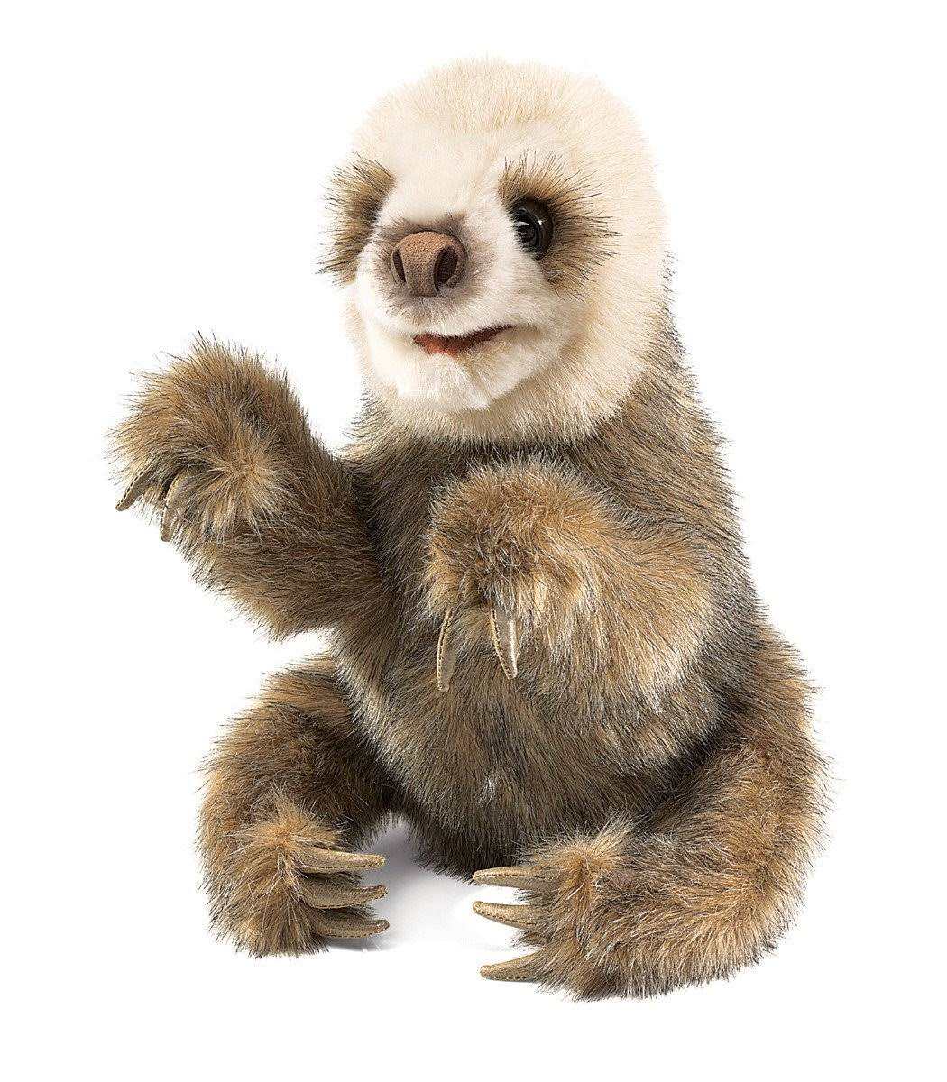 Folkmanis 2927 Soft Hand Puppet Plush Toy - Baby Sloth