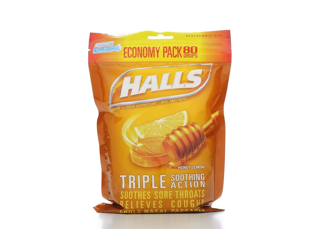 Halls Triple Soothing Action Drops Economy Pack - Honey Lemon Flavor, x80